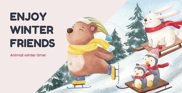 Winter animals illustration