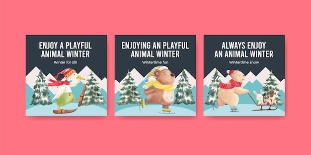 Winter animals postcard template