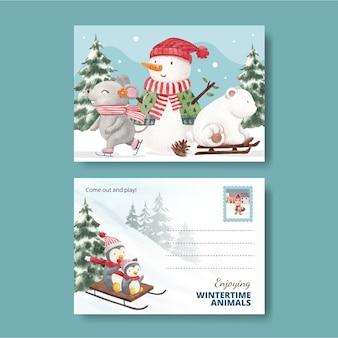 Modello di cartolina di animali invernali