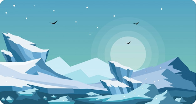 Winter arctic landscape vector illustration