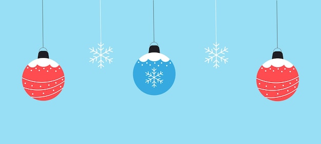 Winter background of balls and snowflakes vector graphics in flat style