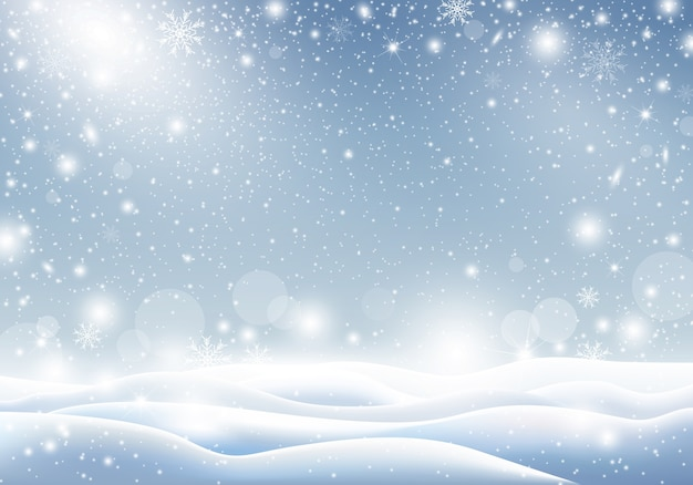 Winter background of falling snow christmas card design