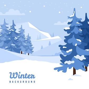 冬の背景フラットデザイン