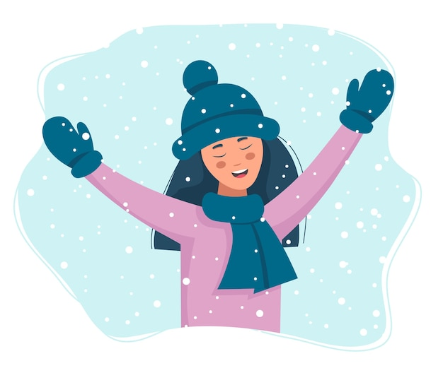 Winter background. happy girl with snow