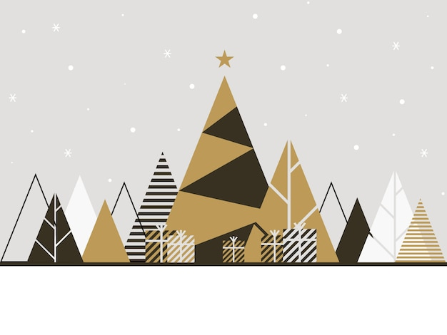 Winter background illustration in flat style