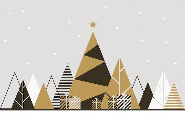 Зимний фон иллюстрации в плоском стиле