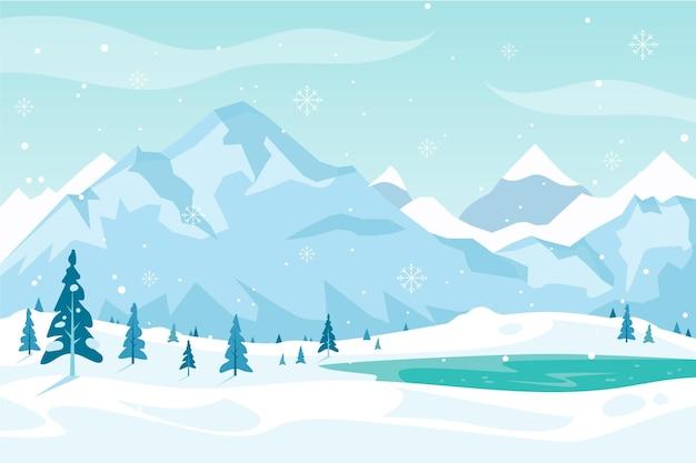フラットなデザインの冬の背景