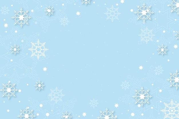 Зимний фон в бумажном стиле с пустым пространством