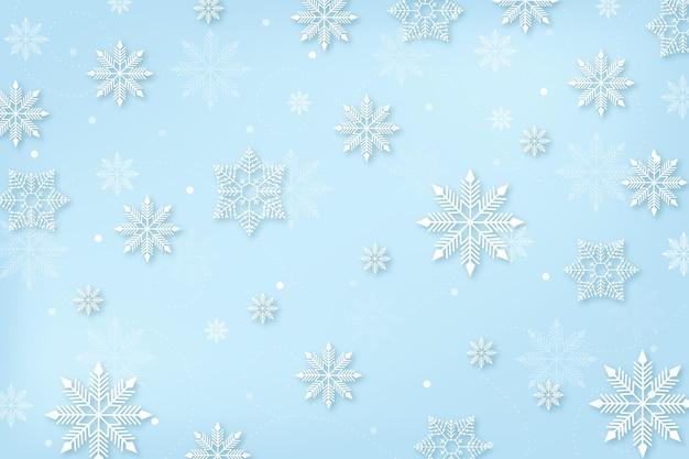 눈송이와 종이 스타일의 겨울 배경