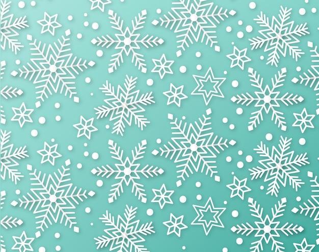 紙のスタイルで冬の背景