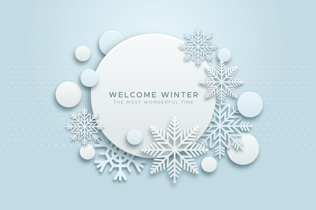 Зимний фон в бумажном стиле