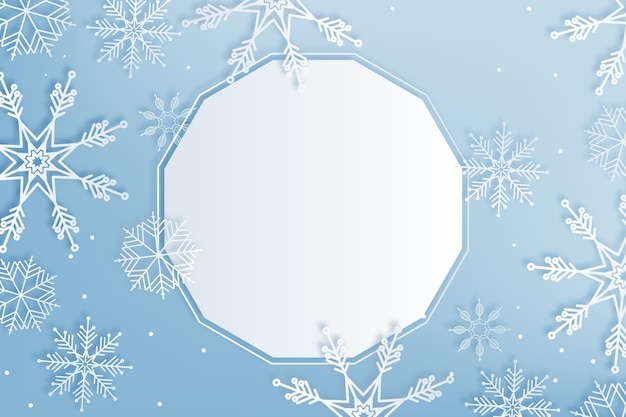Winter background in paper style copy space