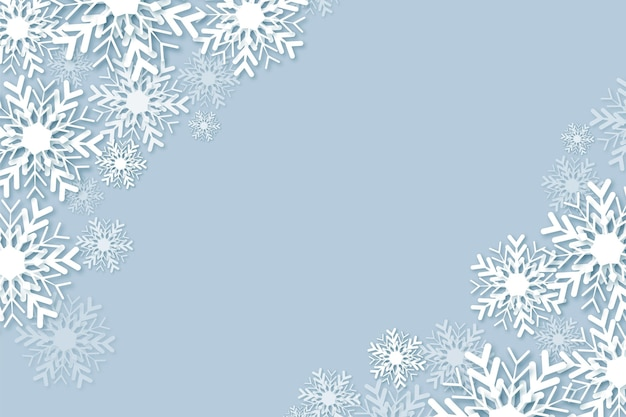 Winter background in paper style with empty space