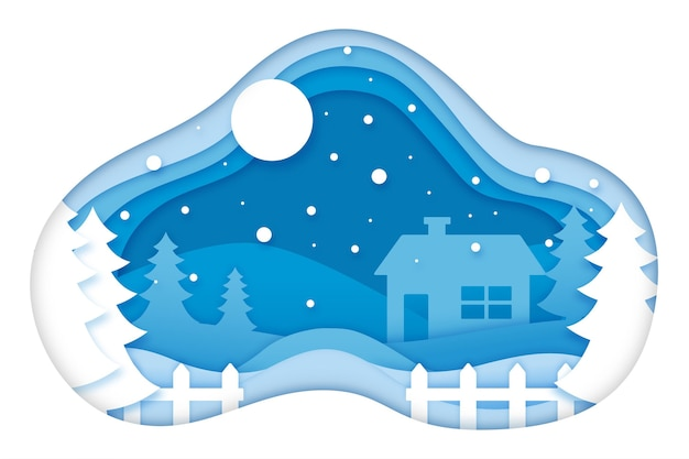Winter background in paper style