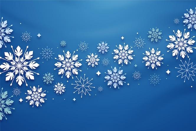 Sfondo invernale in stile carta