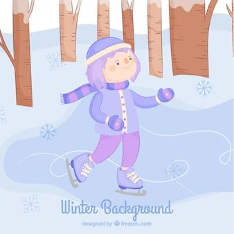 Зимний фон с девушкой катание на коньках