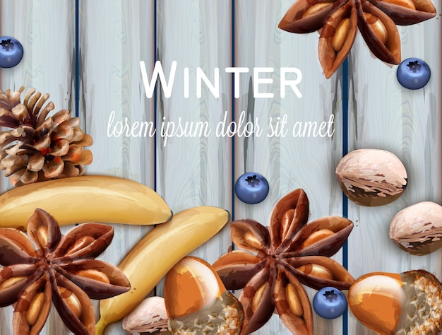 Winter background with blueberry and anise star watercolor