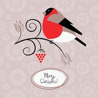 ウソとアッシュベリーと冬の背景。クリスマスカード