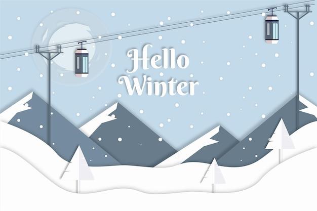 紙のスタイルでケーブルカーと冬の背景