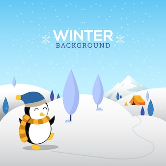Winter background with cute penguin