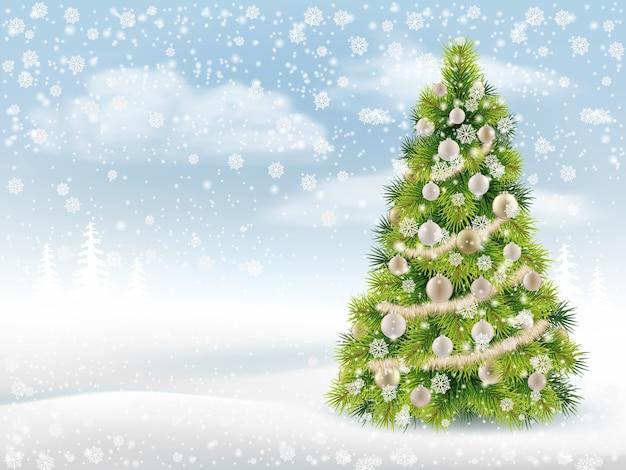 飾られたクリスマスツリーと冬の背景