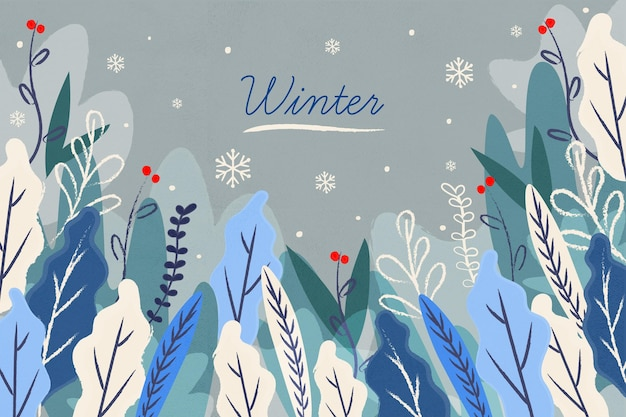 描かれた葉と冬の背景