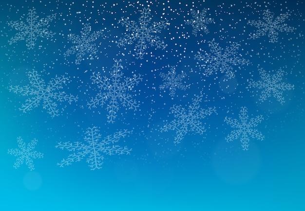 雪と雪片が降る冬の背景。メリークリスマスと新年あけましておめでとうございますの背景。ベクトルイラスト。