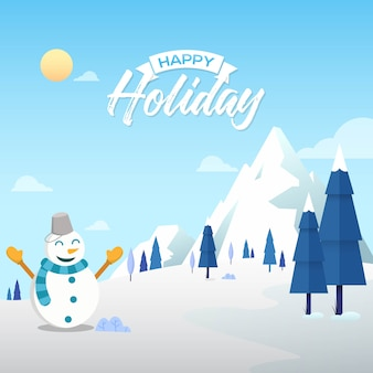 Winter background with happy holiday text and happy snowman