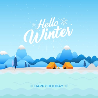 Winter background with hello winter text