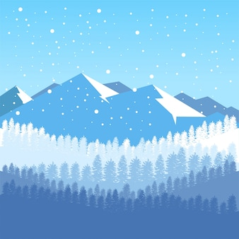 Winter background with mountain