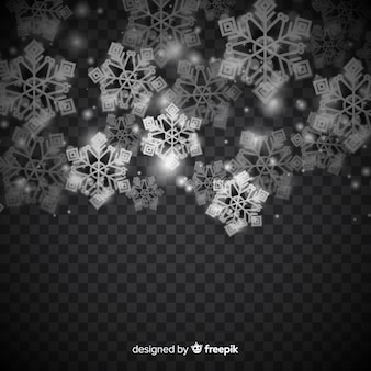 Winter background with realistic snowflakes