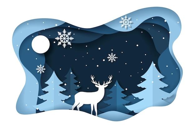 Зимний фон с оленями в бумажном стиле