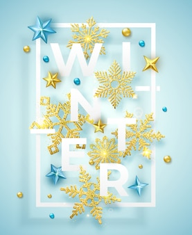 Winter background with shining snowflakes