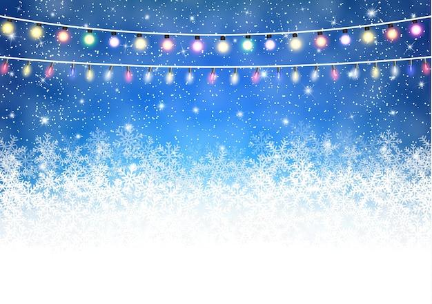 光沢のあるライトと冬の背景