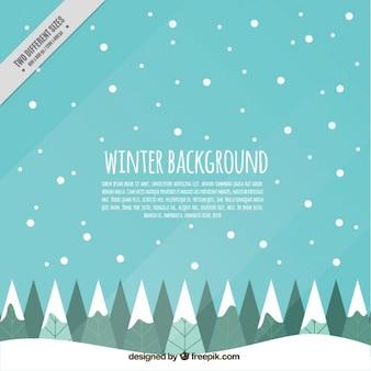 평면 디자인에 눈과 나무와 겨울 배경