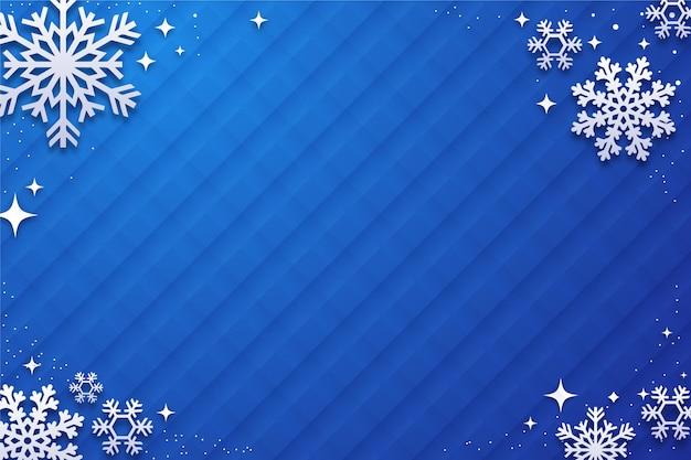 Зимний фон с хлопьями снега в бумажном стиле