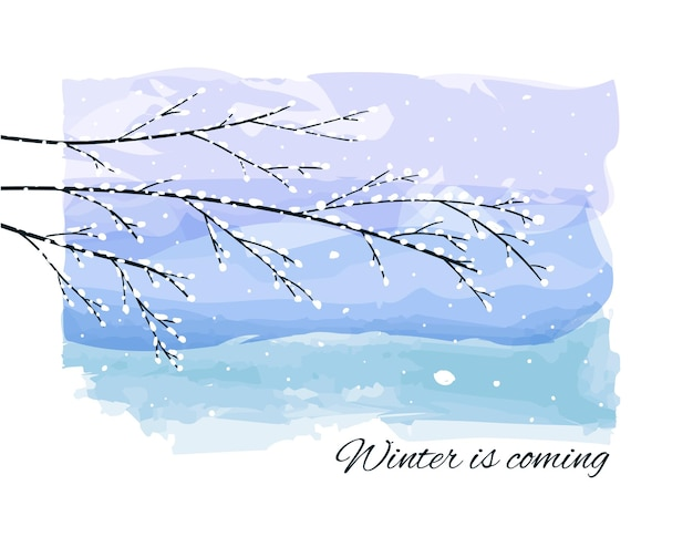 Winter background with snowcovered frozen tree branches, snowfall on watercolor backdrop.
