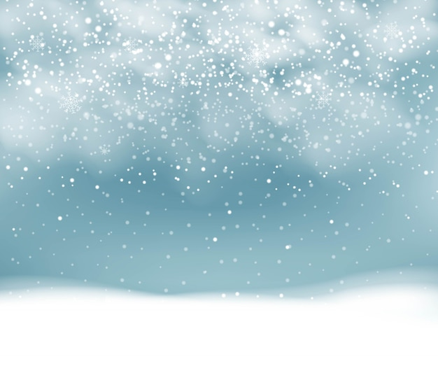 Winter background with snowfall with snowflakes