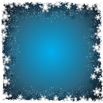 Winter background with snowflakes in borders