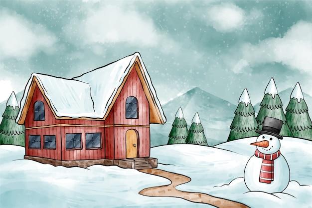 Зимний фон со снеговиком
