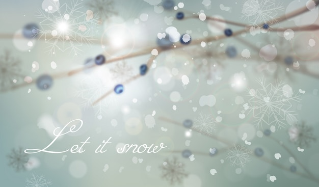 Winter background with tree branch decorations