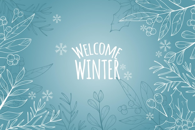 Winter background with welcome winter greeting