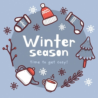 Winter background with winter season text