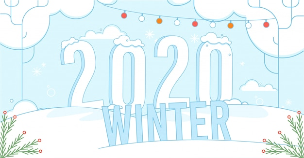Winter banner background with festive natural holidays design