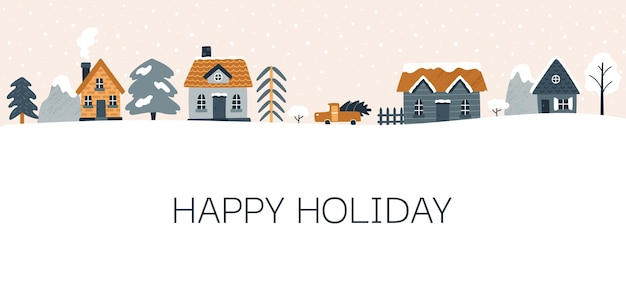 아늑한 집과 겨울 배너 벡터 일러스트 레이 션 가문비 나무 산 크리스마스 휴일