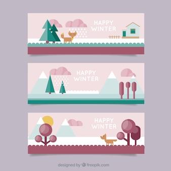 フラットなデザインスタイルで設定された冬のバナー