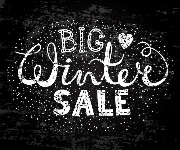 Winter big sale text lettering with heart