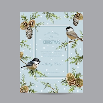 Winter birds  card - in watercolor style
