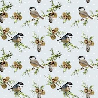 冬の鳥レトロシームレスパターン