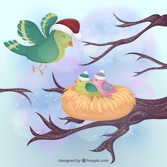 Winter birds with nest